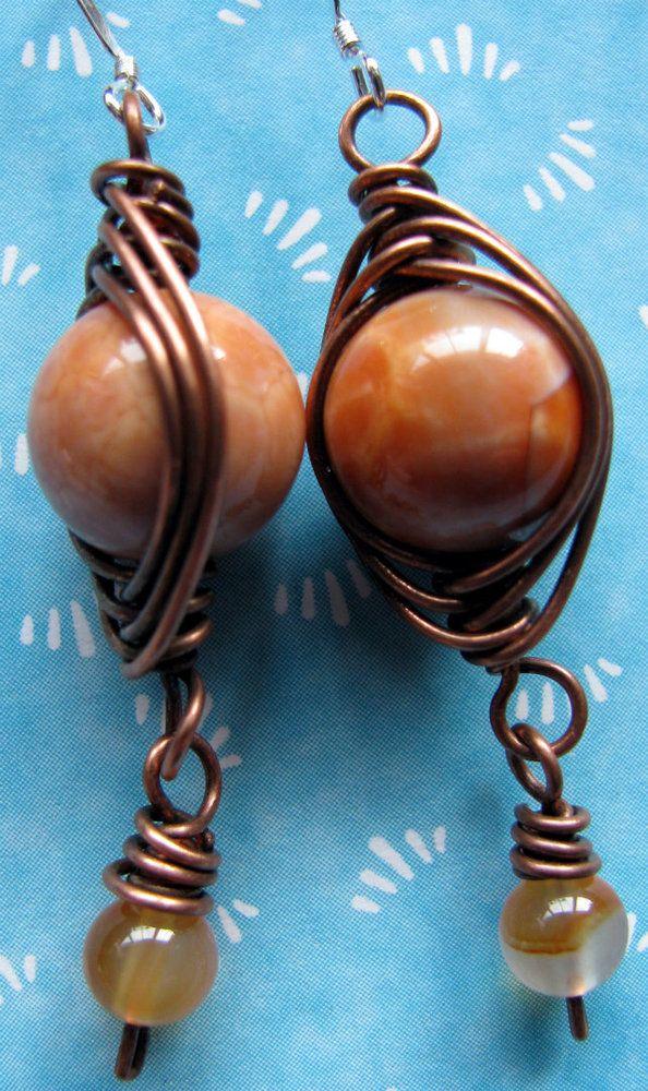 Firestone agate earrings Earrings, Agate beads, Agate