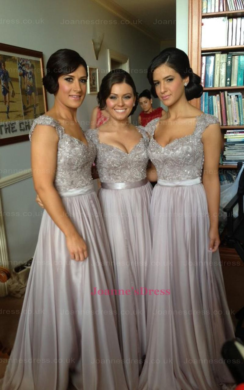 Silver V-Neck Lace Sequins Beads Cap Sleeve Chiffon Long Bridesmaid Dresses  UK 82b245f99991