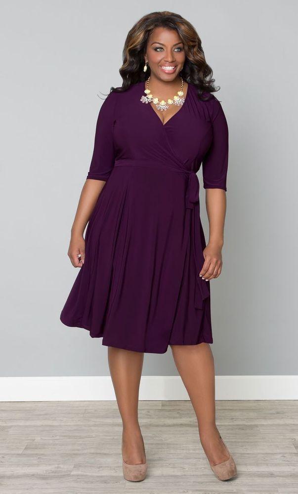 Kiyonna Plus Size 4x Purple Wrap Dress Office Clothes Kiyonna