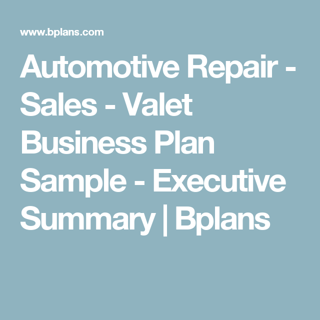 Automotive Repair  Sales  Valet Business Plan Sample  Executive
