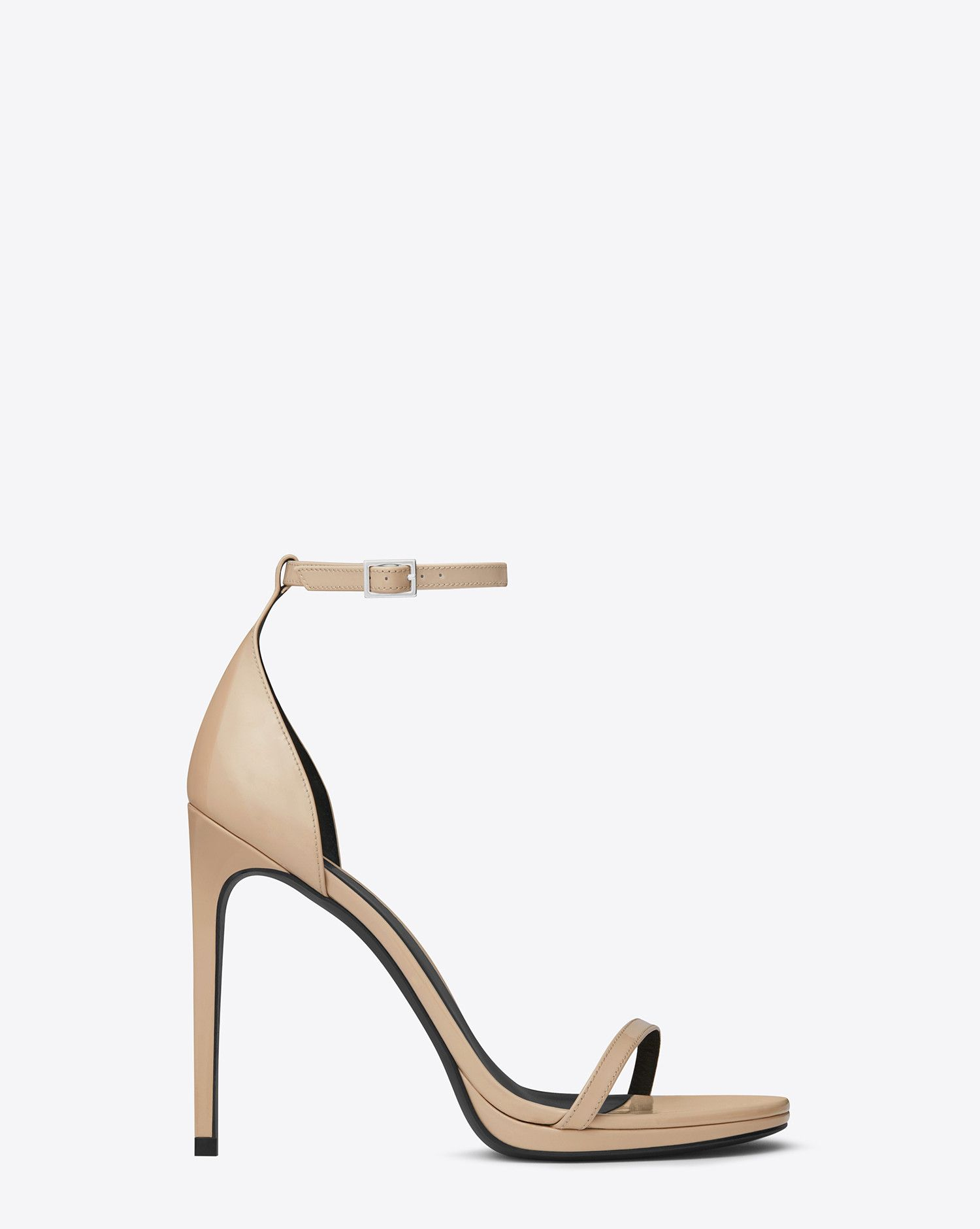 aba1fcf3dad Saint Laurent CLASSIC JANE ANKLE STRAP 105 SANDAL IN POWDER PATENT LEATHER