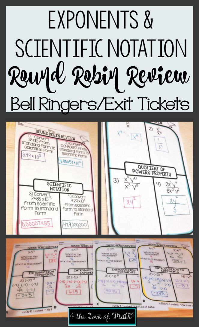 Round Robin Review Sheets Covering Exponents And Scientific Notation