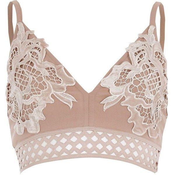 Womens Light Pink velvet lace bralet River Island Big Sale For Sale iaPl5ou