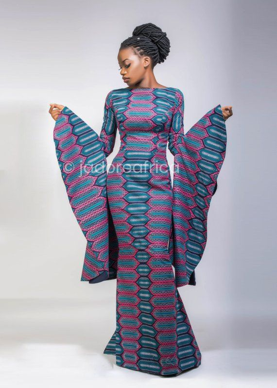 5cbc9b8c69892 African print gown with large trumpet sleeves / African mermaid dress /  African clothing / Ankara dr