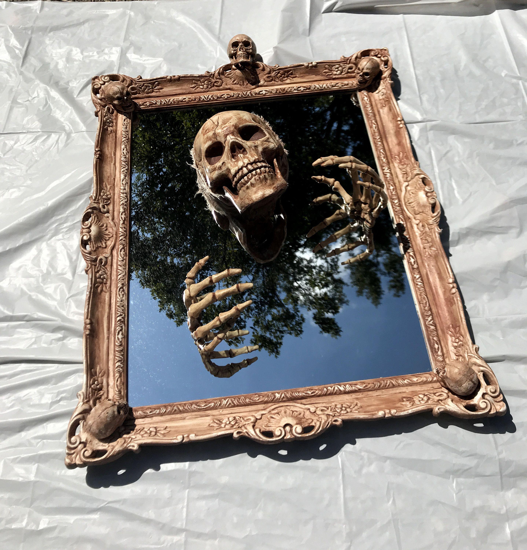 Photo of Creepy Haunted Halloween Spooky Gothic Style Skeleton Skull Mirror Prop