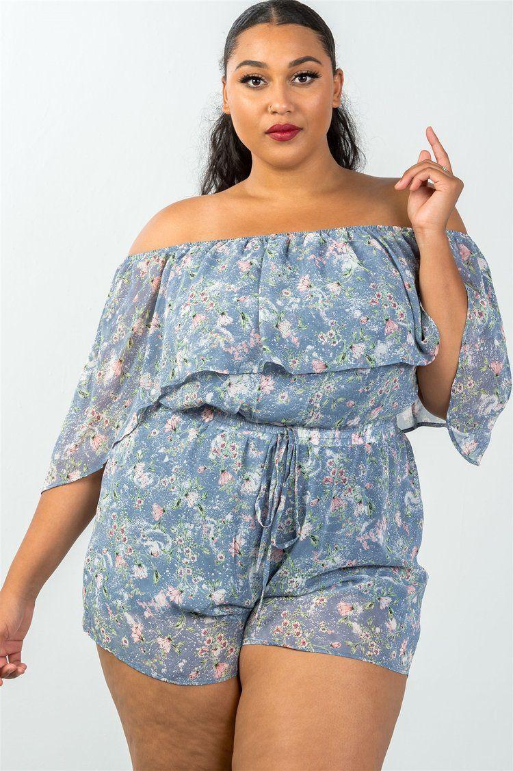 cfcc3985aa3e Ladies plus size off the shoulder flounce floral print ruffle Women s romper