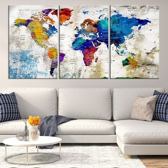 World Map Canvas - Push Pin World Map Print Art, World Map Travel, Large World Map Print, World Map Wall Art, Watercolor World Map Art Print #worldmapmural Push-pin travel maps are such a unique way to bring something personal into your home! Not only do they serve as a reminder of places you visited or wish to visit, but they also add a wonderful design statement. This one will be a conversation piece for sure. World map canvas print #worldmapmural World Map Canvas - Push Pin World Map Print Ar #worldmapmural