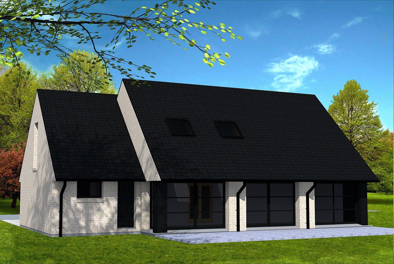 maison moderne en briques jaunes et toiture 2 pans en tuiles noires outeau en fa ade avant. Black Bedroom Furniture Sets. Home Design Ideas