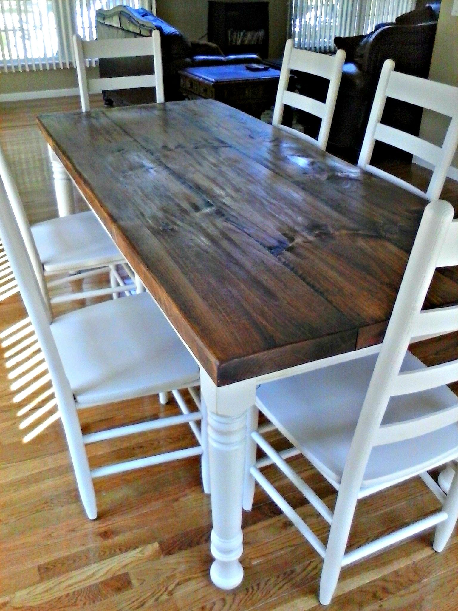 36 X 84 Rustic Pine Farm Table With Hand Scraping Wormholes And