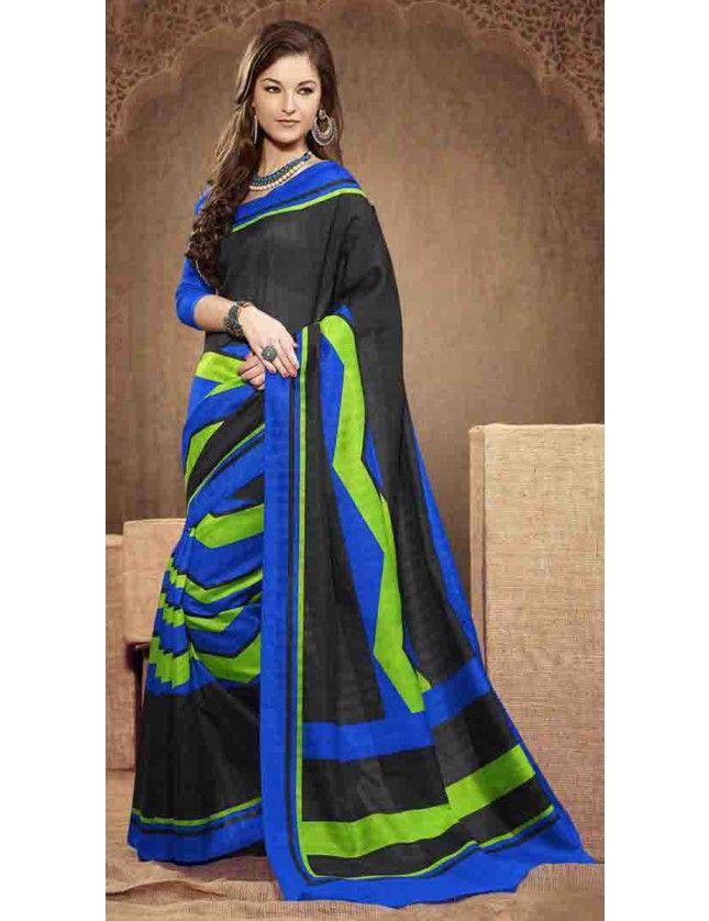 Smart Black Bhagalpuri Silk Saree