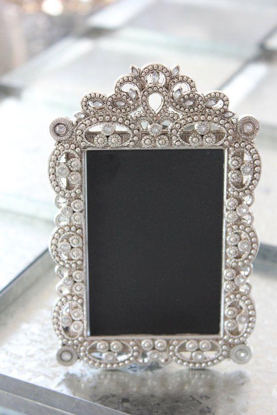 9815be05bb3b Set of 20 Mini VINTAGE STYLE FRAMES Silver Chrome Metallic Placecard Table  Number Menu Label Frame Chalkboard Photo Miniature Ornate