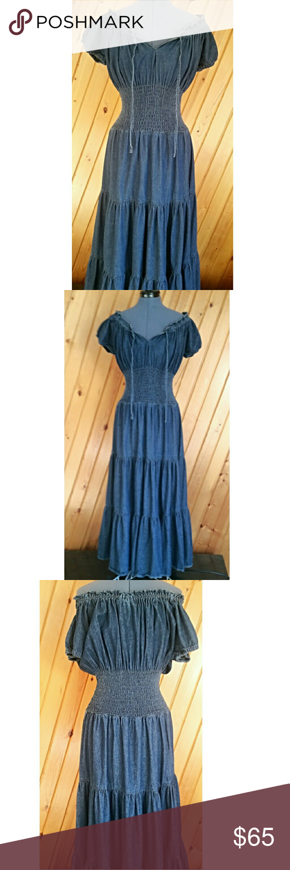Denim Peasant Dress by Jeanology (Newport News) Flirty and