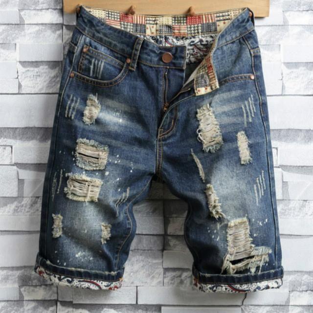 8dbbe9d996996 New 2017 Summer Stripe Zipper Denim Jeans Shorts Men Hip Hop Straight Holes  Ripped Mens Fashion Slim Fit Casual Short Pants