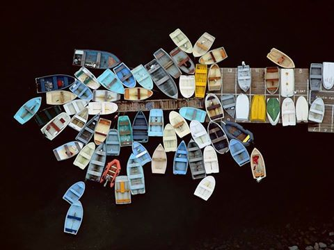 ©Alex S. MacLean. Aerial Photography Boats Dock