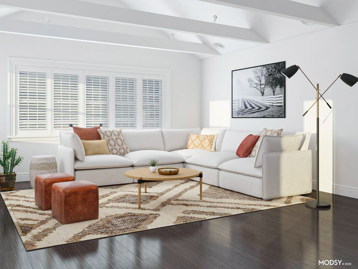 How To Find The Right Rug Size For Your Living Room Modsy Blog In 2020 Contemporary Style Living Room Design Transitional Style Living Room Rugs In Living Room #right #rug #size #for #living #room