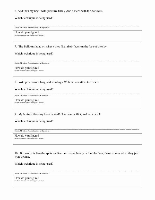 Simile Metaphor Personification Worksheet Awesome 6th ...