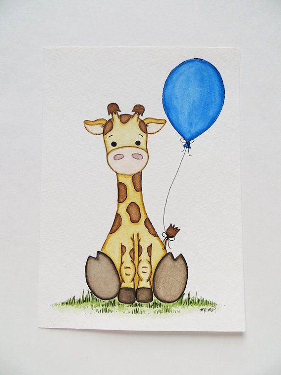 Little Giraffe Nursery Decor Watercolor