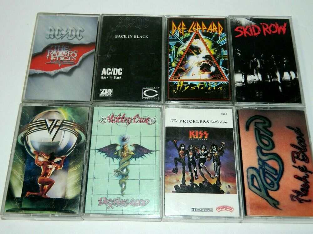 Lot 8 Vintage 80s 90s Rock Metal Cassette Tapes Ac Dc Kiss Montley