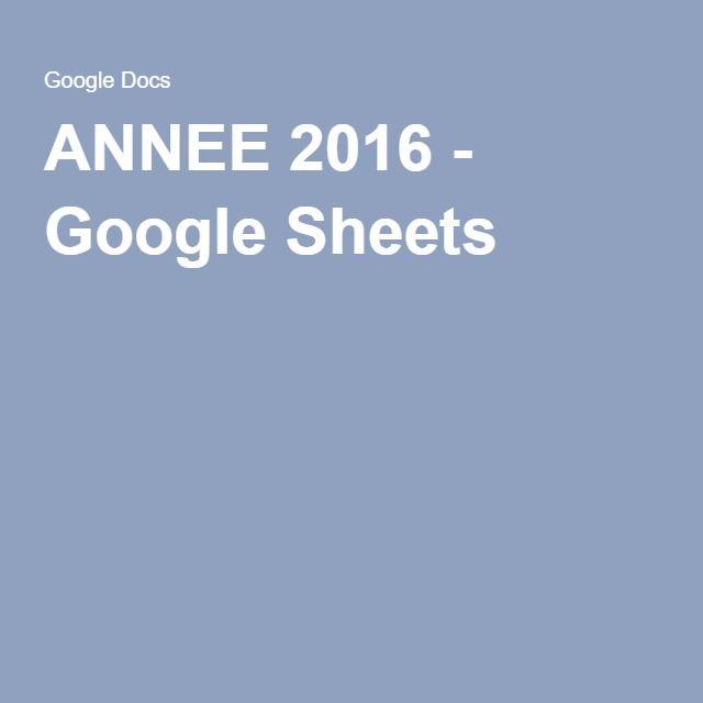 ANNEE 2016 - GoogleSheets