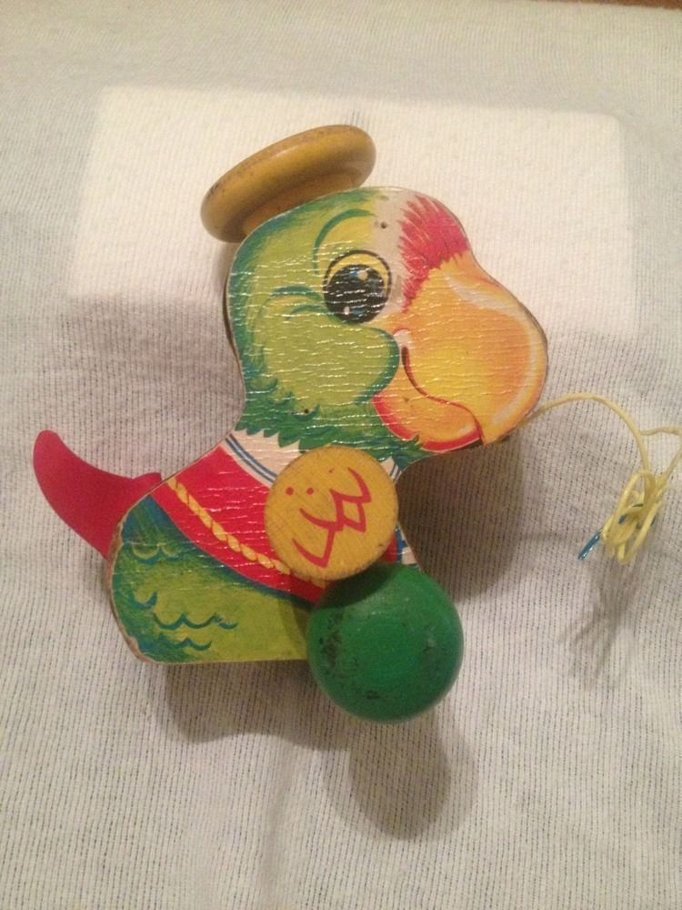 VIntage 1963 Fisher Price 698 Wooden Talky Parrot Pull Toy