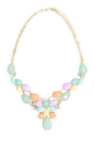 Pastel Statement Necklace - uoionline.com: Women's Clothing Boutique