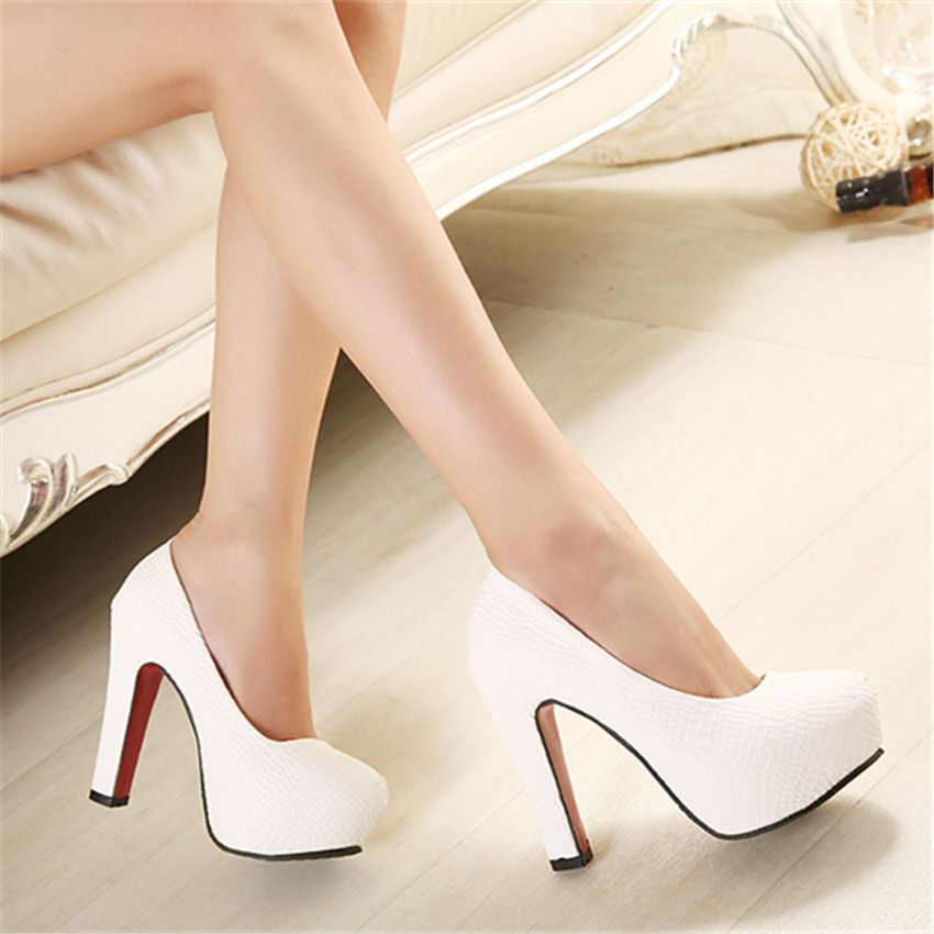 images of sweet heels | heels 12cm thick heel shoes white wedding ...
