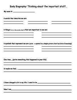 Character Development Body Biography Biography Lesson Plan
