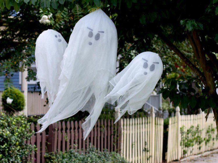 Gespenster Aus Luftballons Und Seihtuch Machen Halloween Deko Gespenst Halloween Deko Diy Halloween Dekoration