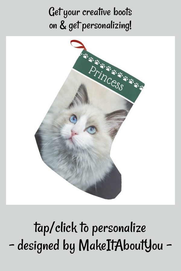 White Cat Christmas Customised Card Personalized