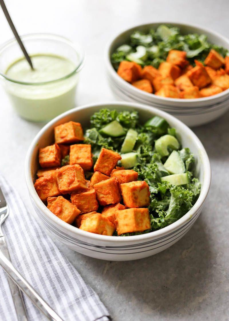 Crispy Buffalo Tofu And Kale Salad With Vegan Ranch Recipe