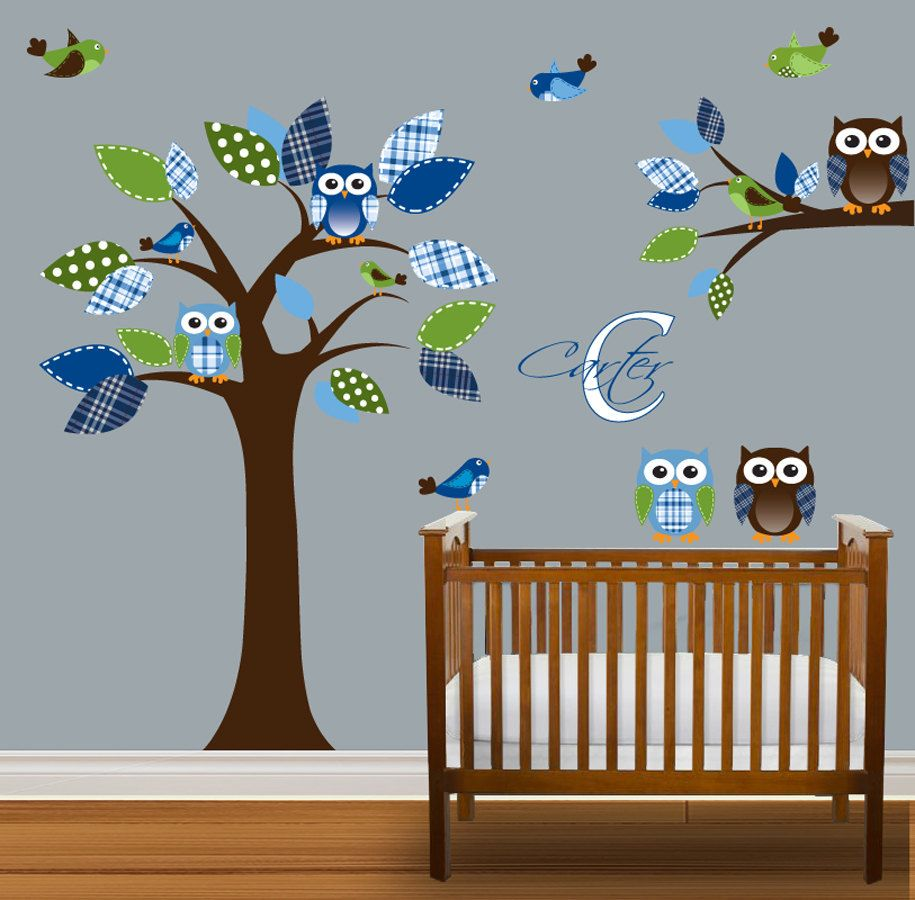 Boys Nursery Tree Decal Vinyl Wall Stickers Owls 99 Via Etsy