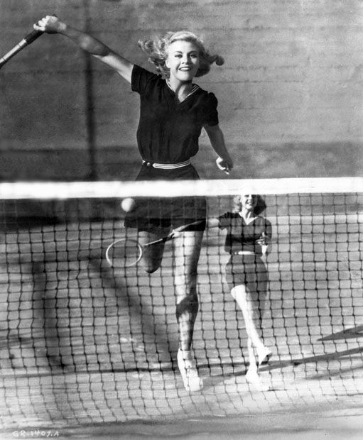 ginger-rogers in motion playing tennis!