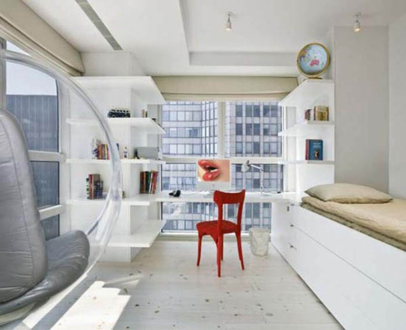 Small New York Studio Apartment White Style With Red Chair And