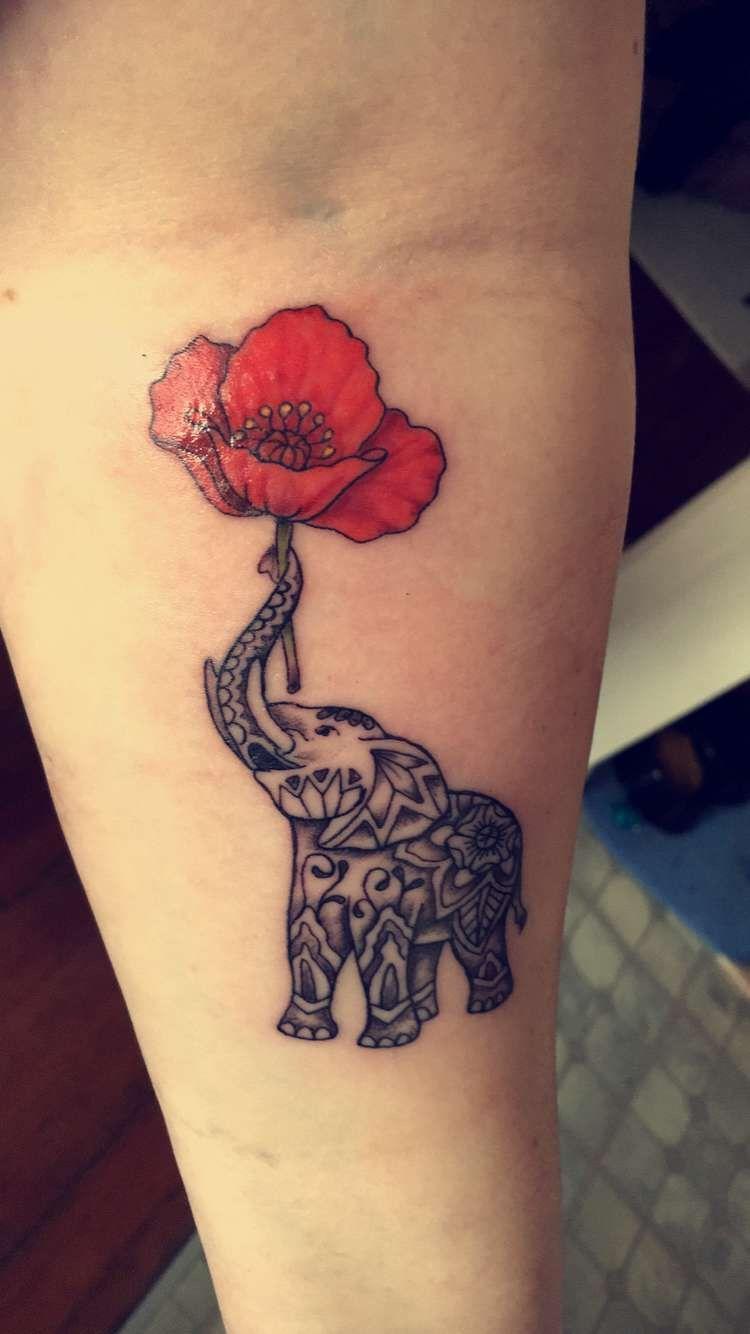Small Acid Tattoo: Elephant Holding A Poppy Tattoo