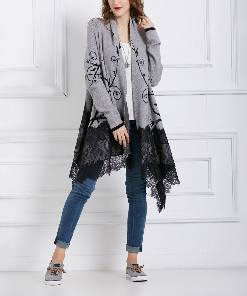 Gray Lace-Overlay Wool-Blend Long Sidetail Cardigan | Products ...