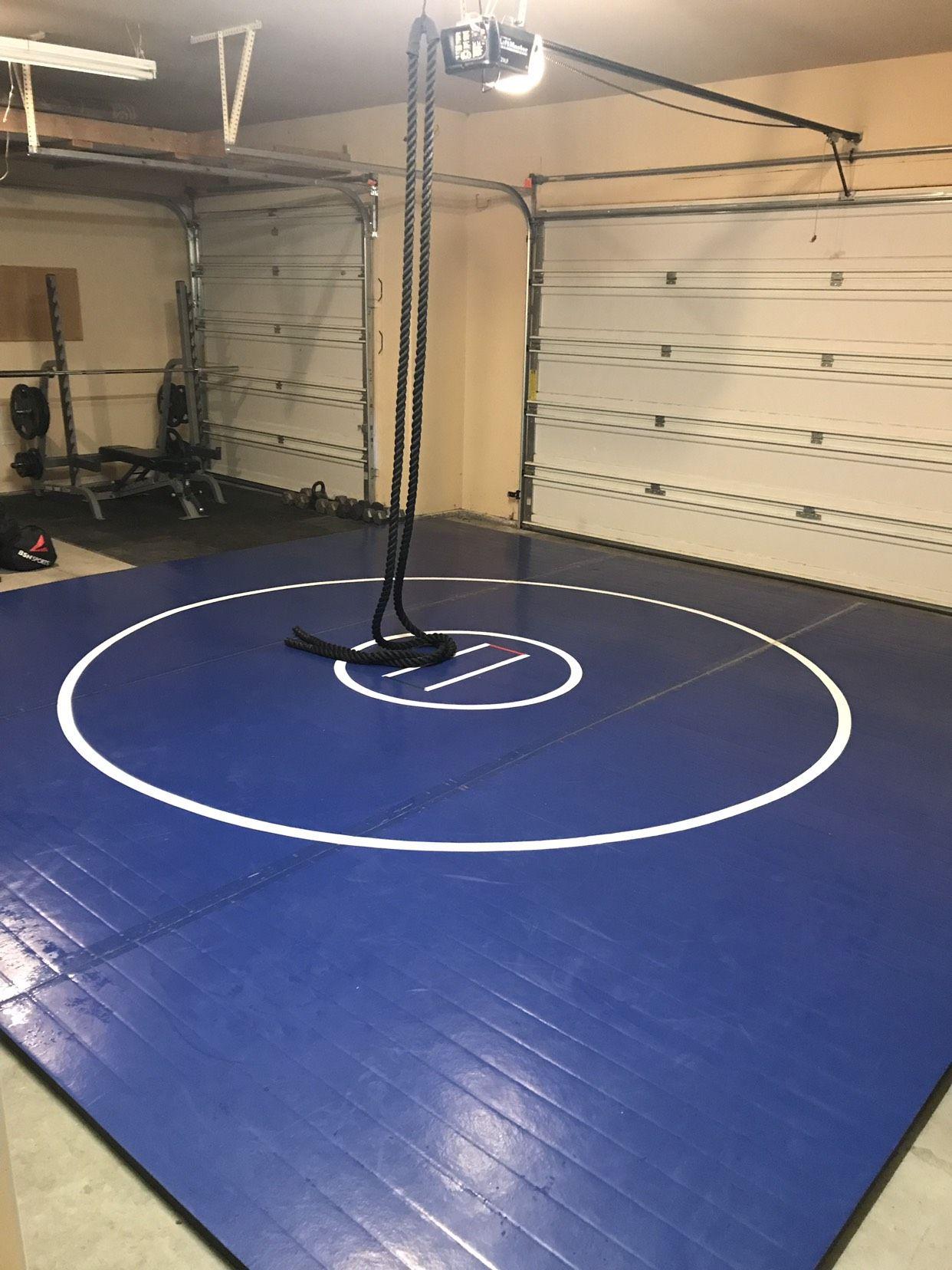 Home wrestling room, wrestling practice mat, wrestling mat