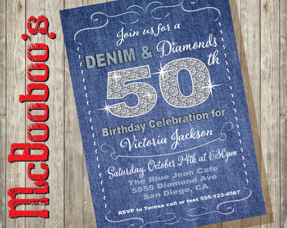 Denim Wedding Invitations: Denim And Diamonds Birthday Party Invitations Rustic And