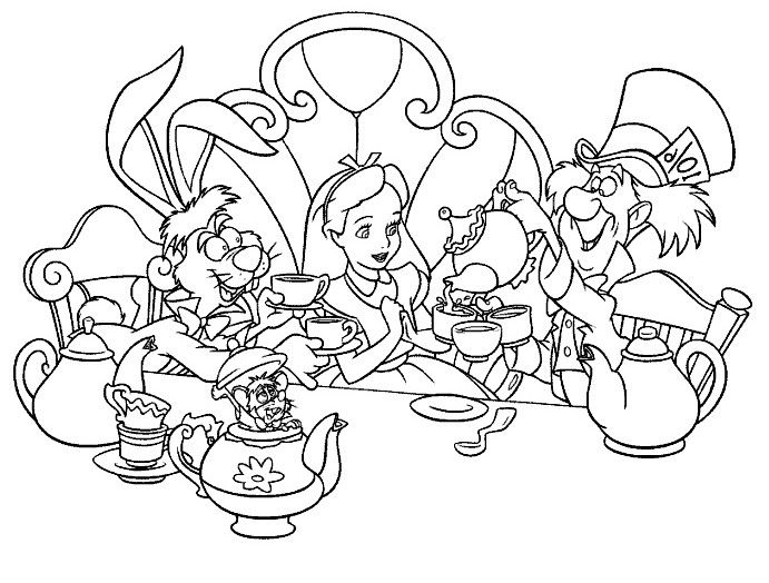 Alice Drinking Tea With Friends Coloring Pages Alice In Wonderland Alice In Wonderland Characters Alice In Wonderland Drawings Alice In Wonderland Tea Party