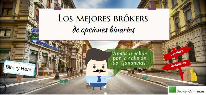 infografía en la que se puede ver una calle con los letreros: binary road y las mejores brókers de opciones binarias