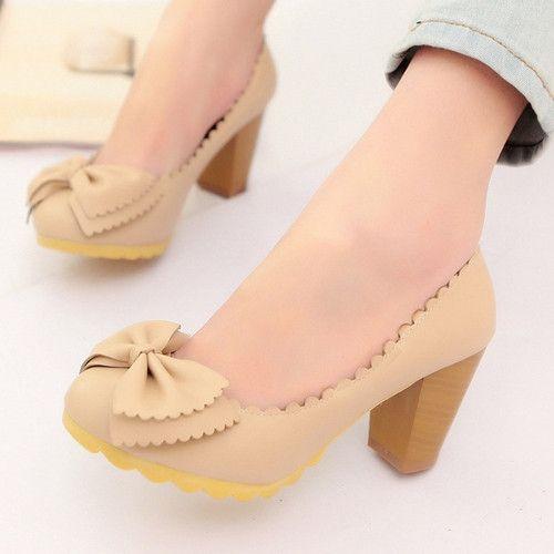 d34b3e5a66a Bowtie Women Chunky Heel Pumps High Heels Platform Shoes Woman ...