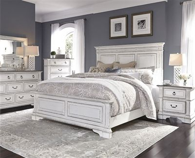 Abbey Park Panel Bed 6 Piece Bedroom Set In Antique White Finish By Liberty Furniture 520 Br Qpbdmn Bedroom Sets White Bedroom Set Luxurious Bedrooms