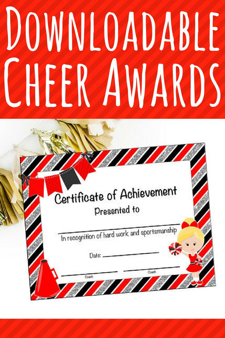 6 Instant Download Cheerleading Certificate Cheerleading Award