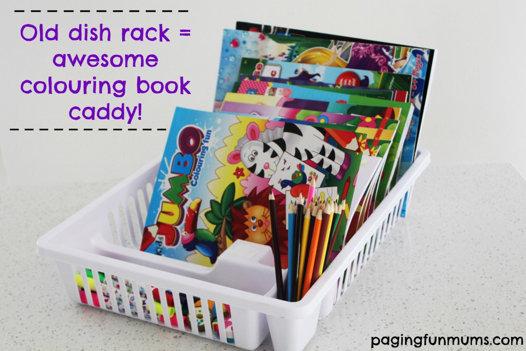 Turn An Old Dish Rack Into The Best Colouring Book Caddy Ever Book Caddy Coloring Books Dish Racks