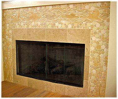 Fireplace Decorative Tiles Pelican's In Flight Beach Scene In Mosaic Ceramic Tile Fireplace