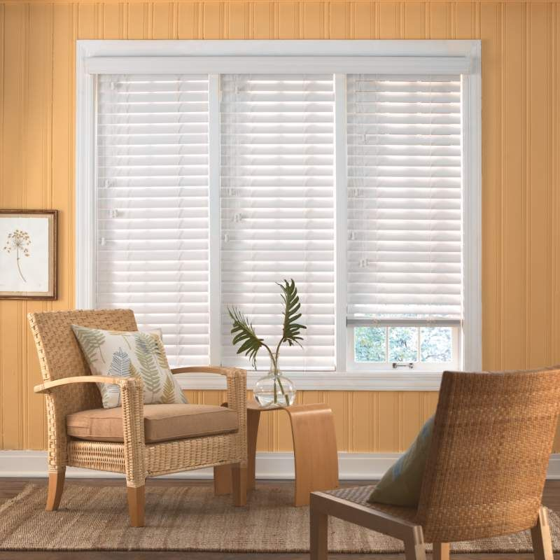 """Bali 21/2"""" Faux Wood Blinds White faux wood blinds"""
