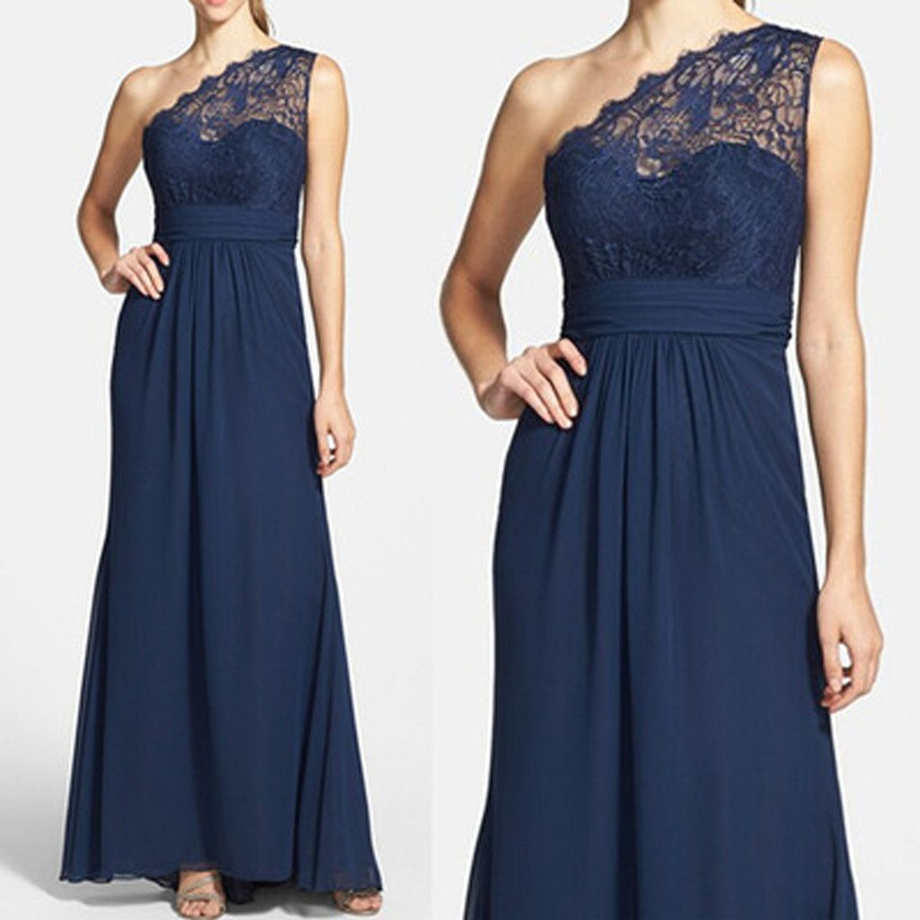 126289c7a54 Elegant Navy Blue One Shoulder Lace Chiffon A Line Floor-Length Cheap  Bridesmaid Dresses, WG64