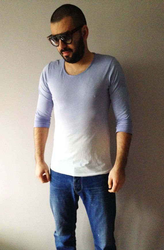 a34059a2277 Dip Dye Mens Pigeon Grey T-shirt Summer Ombre Top Hand Painted Ivory ...