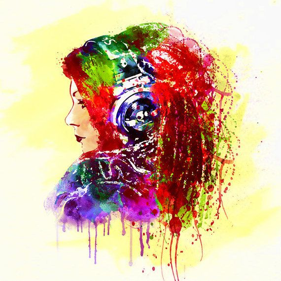 Girl Is A Dj Watercolor Painting For Instant Download Watercolor