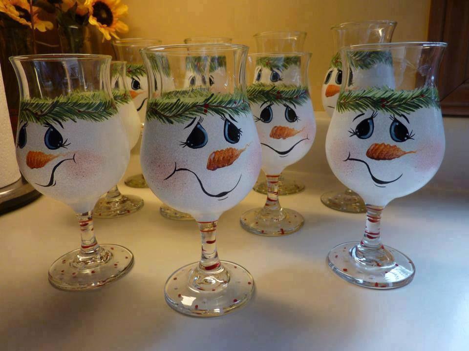 Diy snowmen glass painted glassware pinterest for Christmas painted wine glasses pinterest