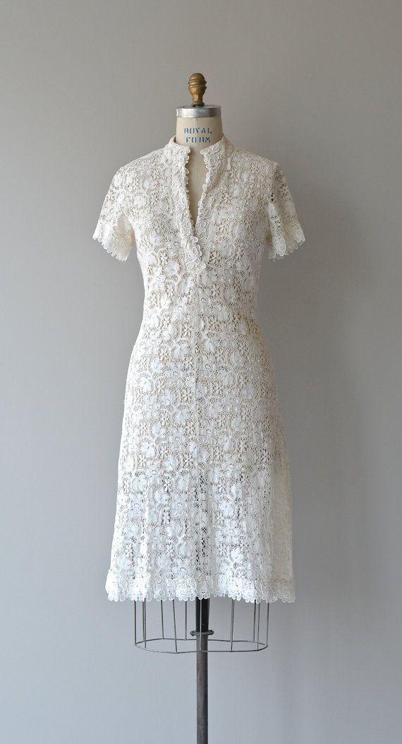 Chypre vintage 1960s dress white lace 60s dress by DearGolden